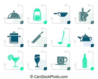 Stylized Restaurant, cafe, food and drink icons - vector...