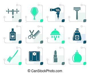 Stylized Personal care and cosmetics icons - vector icon set...
