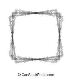 Arrow on a square shape. Vector. Gray icon shaked at white background.
