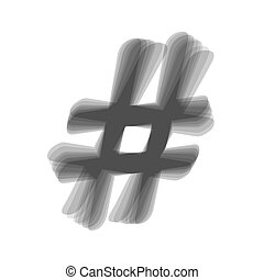 Hashtag sign illustration. Vector. Gray icon shaked at white...