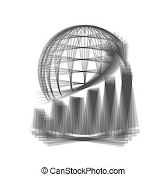 Growing graph with earth. Vector. Gray icon shaked at white background.