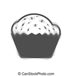 Cupcake sign. Vector. Gray icon shaked at white background.