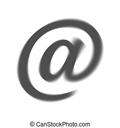 Mail sign illustration. Vector. Gray icon shaked at white background.