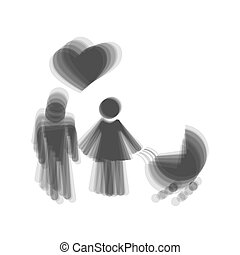 Family symbol with pram and heart. Husband and wife are kept each other`s hands. Love. Vector. Gray icon shaked at white background.