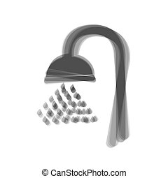 Shower sign. Vector. Gray icon shaked at white background.