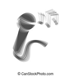 Microphone sign with music notes. Vector. Gray icon shaked at white background.