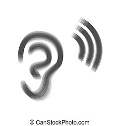 Human anatomy. Ear sign with soundwave. Vector. Gray icon...