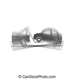 Tow truck sign. Vector. Gray icon shaked at white background.