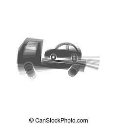 Tow car evacuation sign. Vector. Gray icon shaked at white...