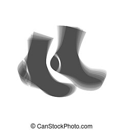 Socks sign. Vector. Gray icon shaked at white background.
