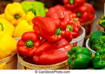Boxes with colorful peppers on the market. - Selection of...