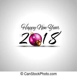 季節的, フライヤ,  2018, 背景, 年, 新しい, 幸せ, あなたの, カード, 挨拶