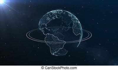 Virtual world - Hologram of planet earth in space.