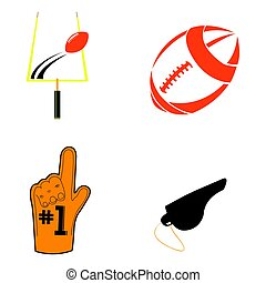 Set of football related objects, Vector illustration