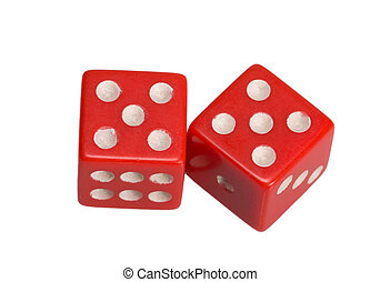 Two dice showing two five