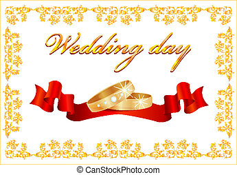 wedding card with rings and red ribbon