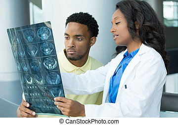Radiology findings - Closeup portrait of intellectual...