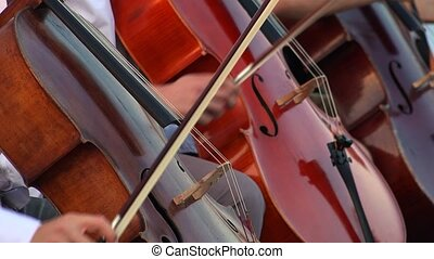 Musicians playing contrabass. 4K. - Musicians playing...