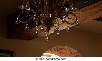 Crystal Chandelier Restaurant. The interior design of the restau