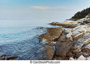Sunset view on embankmen in Thassos town, East Macedonia and...