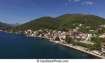 Hotel on the shore of Kotor Bay. Aerial photography.