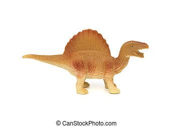 marrón, juguete, spinosaurus, Plano de fondo, blanco, lado,...