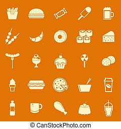 Fast food color icons on orange background