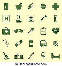 Pharmacy color icons on yellow background