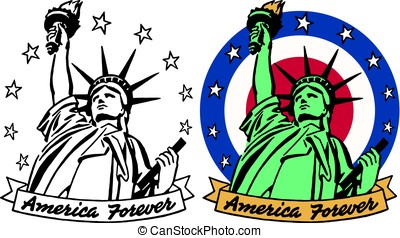 America Forever - A graphic icon of the Statue of Liberty...