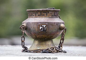 Tibetan Buddhist ceremonies lamp for religious ritual, Nepal...