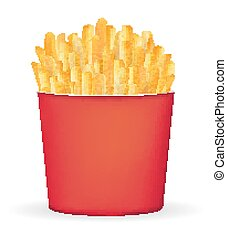 real french fries in a red bucket package vector