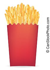 real french fries in a red package vector