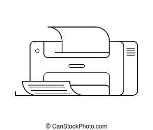 impresora,  simple, adminículo, línea, arte, icono