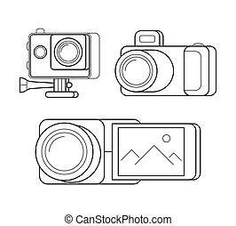 Videocamera, gopro and digital photocamera. - Icons set of...