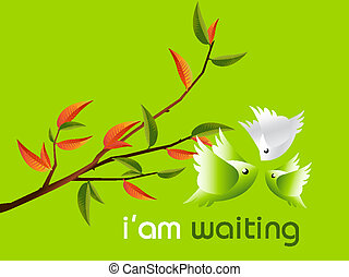 Lovebirds Character flying togetherness around twig, cartoon...