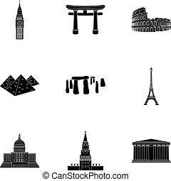 Sights of the countries of the world. Famous buildings and monuments of different countries and cities. Countries icon in set collection on black style vector symbol stock illustration.
