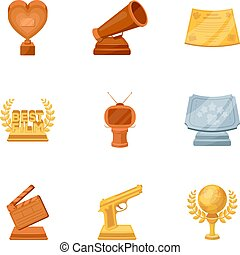 A set of awards for the movie viewings. Gold, silver and bronze awards to the Director, the actor. Moovie awards icon in set collection on cartoon style vector symbol stock illustration.