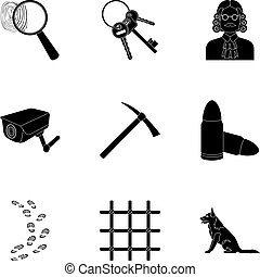 Set of images about the prison and prisoners. Surveillance of thieves, court, crime and punishment.Prison icon in set collection on black style vector symbol stock illustration.