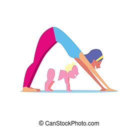 Kids yoga concept with mother and child