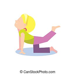 Little girl doing stretching exercise
