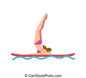 Woman practicing SUP yoga on paddle board