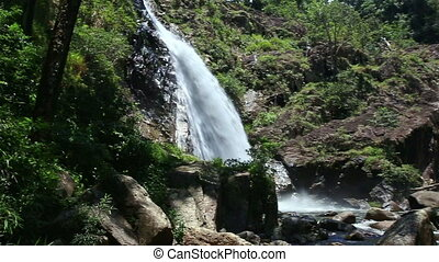 Small Mountain River Waterfall among Green Slopes - small...