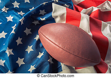American football on American old glory flag
