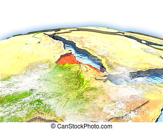 Eritrea on globe - Country of Eritrea on model of Earth. 3D...