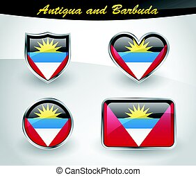 Glossy Antigua and Barbuda flag icon set with shield, heart,...