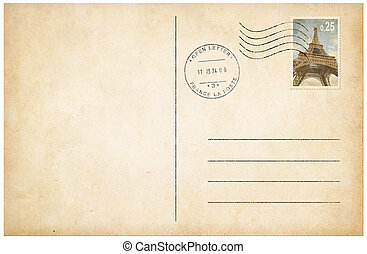 Old style postcard with postage stamp 3d illustration - Old...
