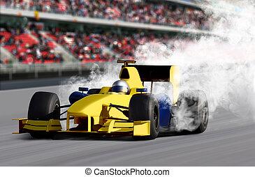 fórmula, Uno, velocidad, coche