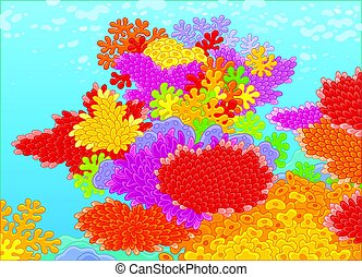 Corals - Vector illustration of a colorful reef in a...