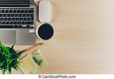 オフィス, 混合, 木製である, 小道具, 背景, 供給, テーブル