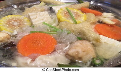 Boiling Soup With Variety Vegetables, stock video